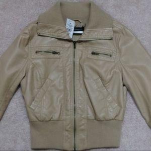Beige Leather Jacket